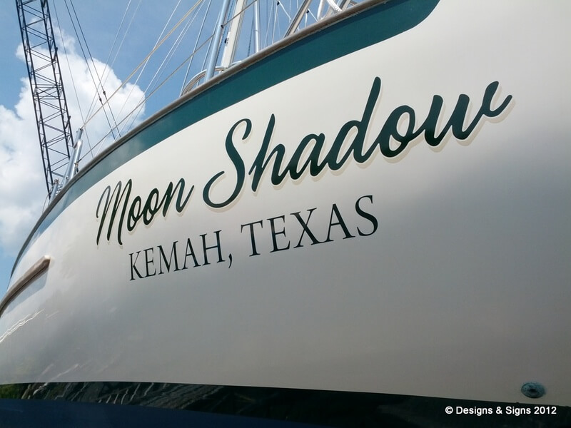 Vinyl boat names moon shadow designs signs for Boat names vinyl lettering