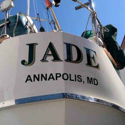Custom Boat Lettering For Jade