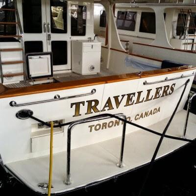 Travellers - Gold Leaf Boat Lettering