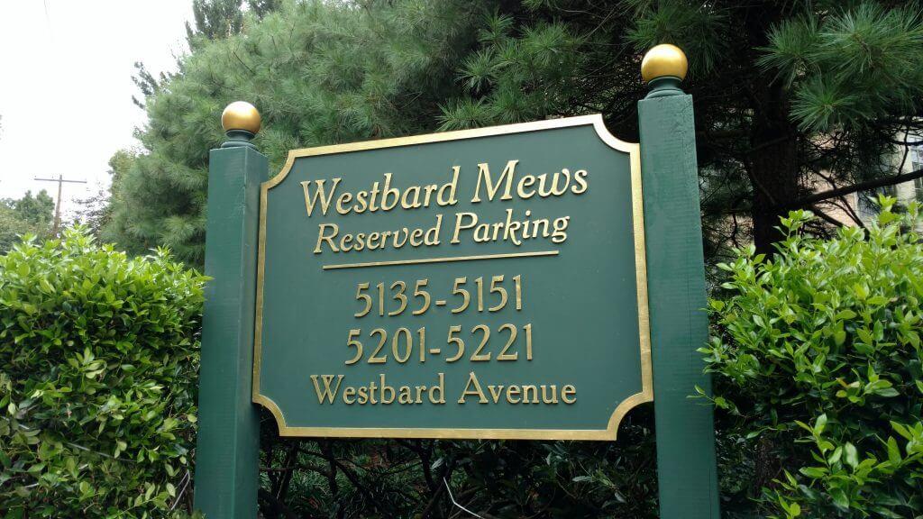 Sandblasted HDU Sign Westbard Mews