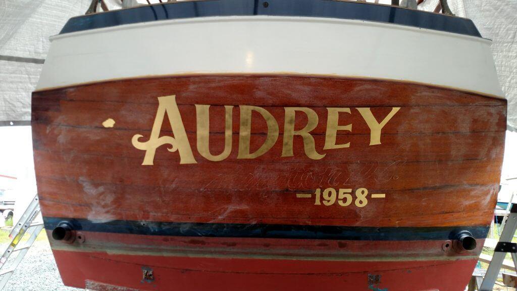 Gold Leaf Boat Lettering Audrey