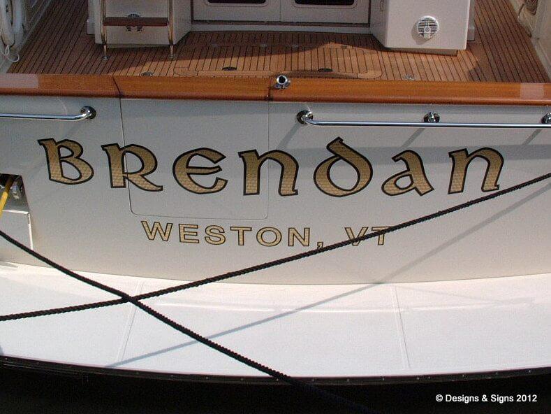 Gold Leaf Boat Name, Engine Turn Letters for Brendan