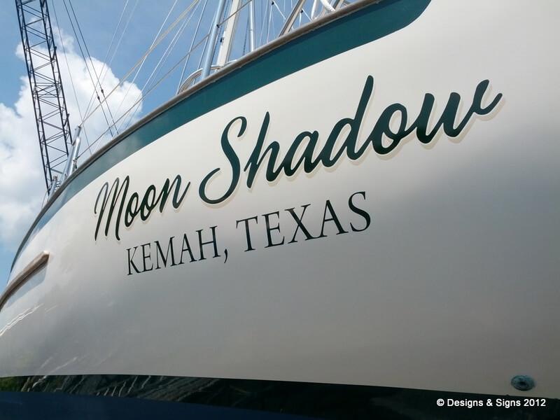 Vinyl Boat Names; A Custom Sailboat Name on Moon Shadow