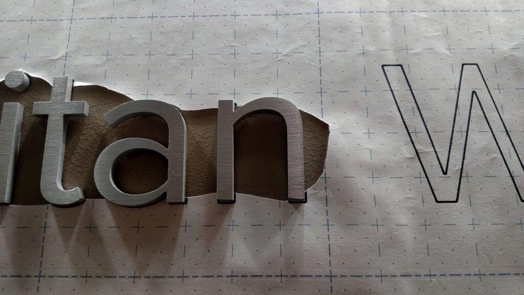 paper pattern used for installation dimensional letters