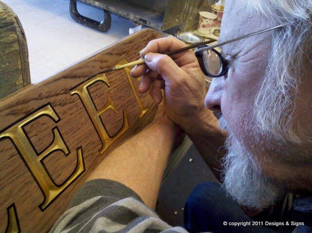 Wooden Quarterboards with Gold Leaf Letter, Kathleen.