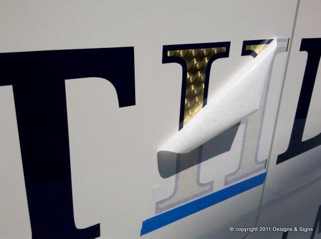 Gold Leaf Boat Name, Luxury Yacht Lettering on Kathleen.