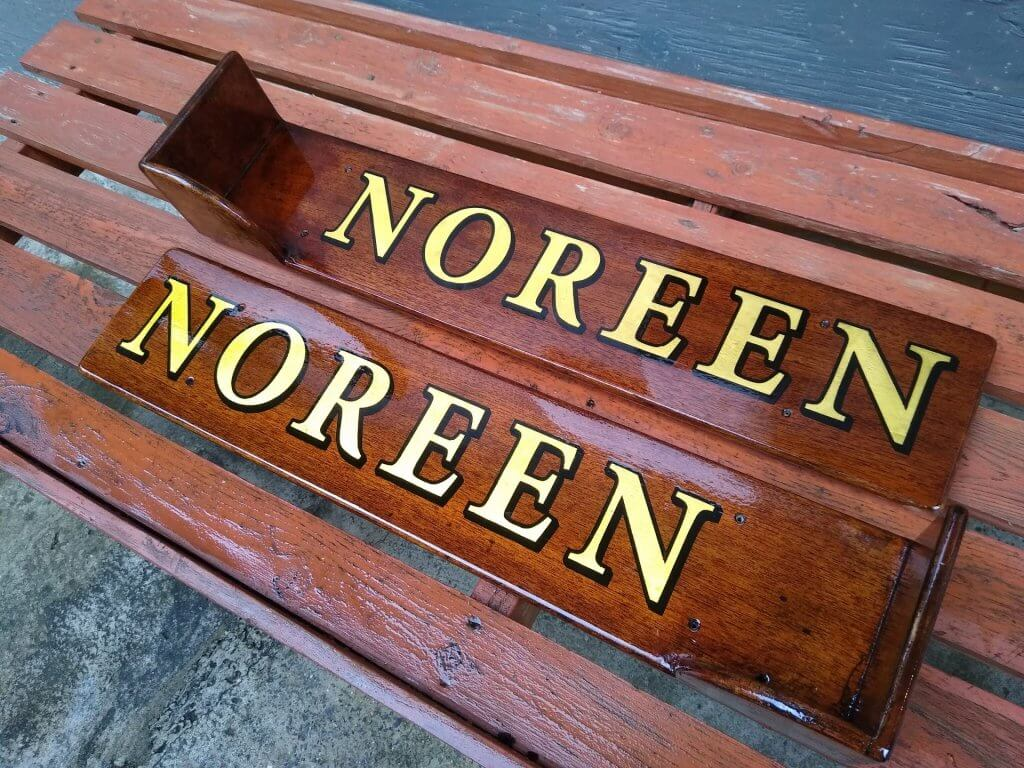 wooden boat name plates - noreen